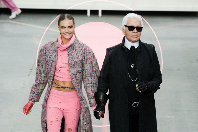 Кара Делевинь (Cara Delevingne) with Lagerfeld